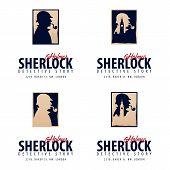 Set Of Sherlock Holmes Logos Or Emblems. Detective Illustration. Illustration With Sherlock Holmes. poster