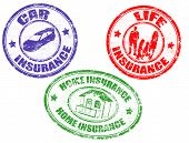 Car, Life And Home Insurance Stamps