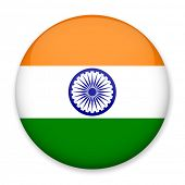 Flag of India in the form of a round button with a light glare and a shadow. The symbol of Independe poster