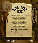 stock photo of wild west  - Vector illustration with a Wild West Relay Poster in the environment of cowboy accessories on the wood wall background - JPG