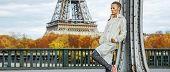 Healthy Woman On Pont De Bir-hakeim Bridge Looking Into Distance poster
