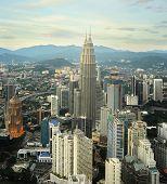 foto of petronas twin towers  - Panorama of Kuala Lumpur from KL Tower at sunset in Malaysia - JPG