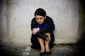 foto of suicide  - Young teenage girl suffering depression and problems - JPG