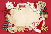 Christmas background border with bauble decorations, signs, mince pies, gingerbread cookies, holly,  poster