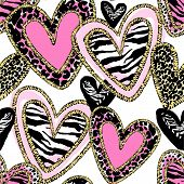 Glamour Heart Seamless Trendy Background. poster