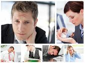 Collage Of Stressed Business People