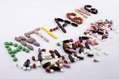 Hand Writing Text Caption Inspiration Medical Care Concept Written With Pills Drugs Capsule Word Sto poster
