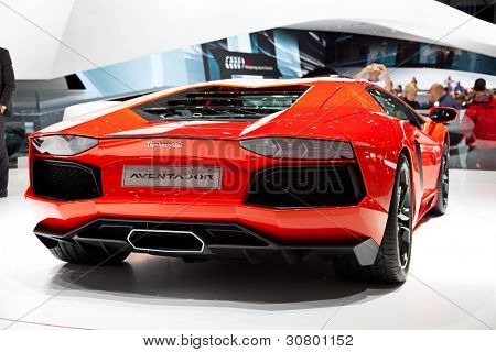 GENEVA - MARCH 8: A Lamborghini Aventador on display at the 81st International Motor Show Palexpo-Geneva on March 8, 2011 in Geneva, Switzerland.
