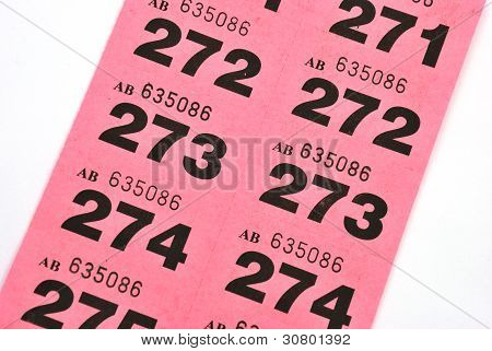Page of pink raffle tickets