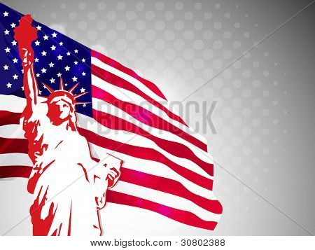 American flag and statue of liberty on dotted grey background for American Independence Day and other events. Vector illustration. eps 10.