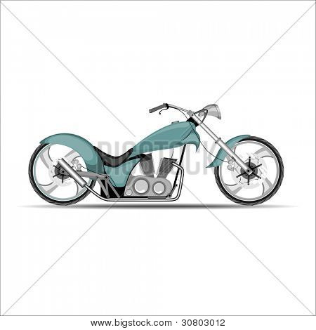 A vector illustration of green color motorcycle on white background.