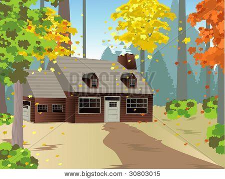 A vector illustration with an Autumn House.