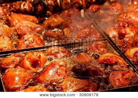 Steak And Other Meat On Barbeque. Background