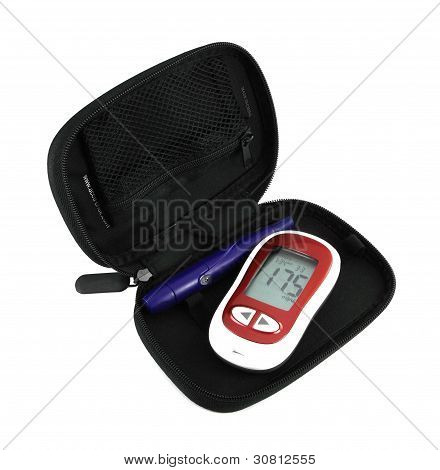 Diabetic Glucometer Blood Sugar Or Glucose Level Testing Kit Isolated On A White Background