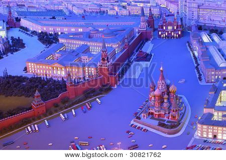 MOSCOW - APRIL 27: Model Moscow is capital of USSR - Red Square, on April 27, 2011 in Moscow, Russia. Team led by Yefim Deshalyt built diorama commissioned by Foreign Ministry of USSR in 1977.