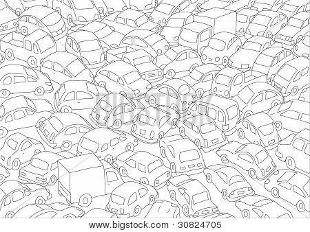 Atasco de tráfico de coches