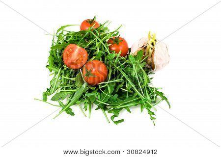 Garlic, Ruccola And Cherry Tomatoes