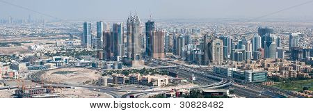 Skyscrapers in Dubai view on Dubai Internet city at the bottom