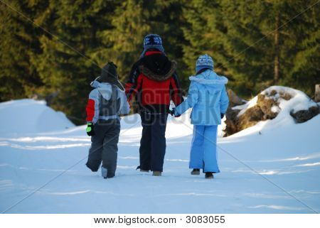 Walking Children In Winter