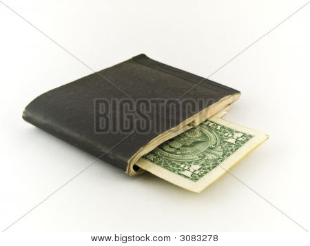 Old Chequebook And One Dollar Bill On White Background