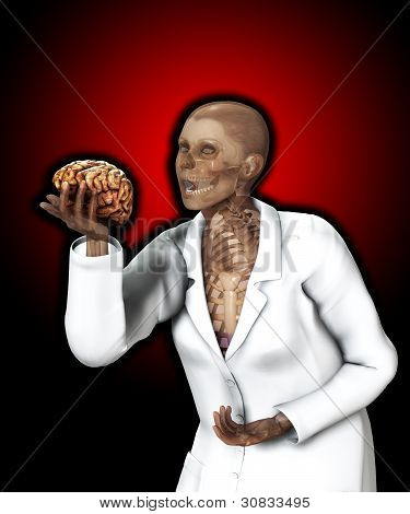 Brain In Hand Of X Rayed Doctor
