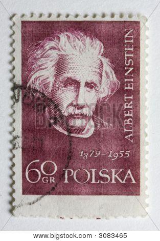 Albert Einstein On A Vintage Post Stamp From Poland