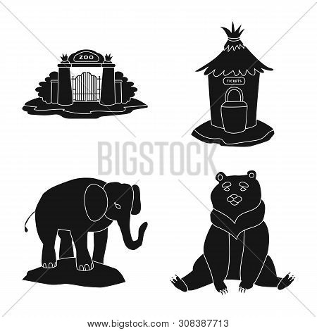 poster of Isolated Object Of Fauna And Entertainment Sign. Collection Of Fauna And Park Stock Vector Illustrat