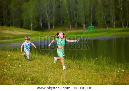 Children With Butterfly Net