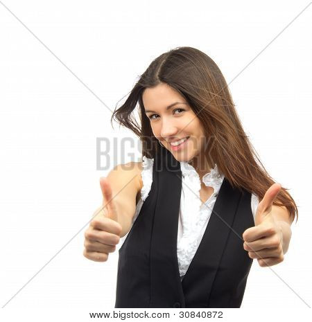 Pretty Business Woman Show Thumb Up And Smiling