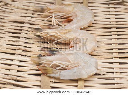 delicious fresh shrimp on a basket