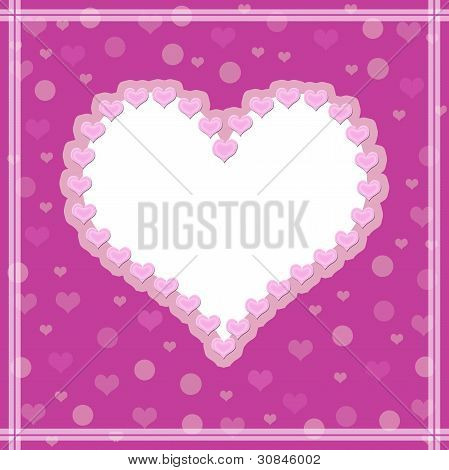 Pink background with a heart. White