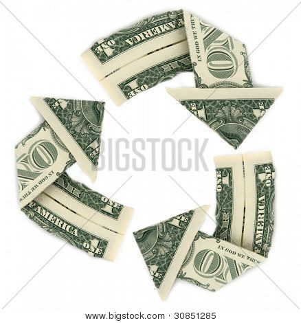 Recicl o sinal feito com dólares