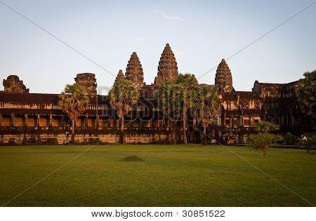 Leaving Angkor Wat at sunset