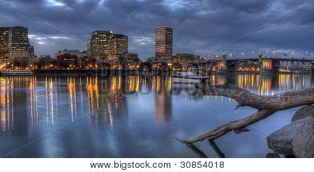 Portland Oregon Waterfront Skyline With Morrison Bridge