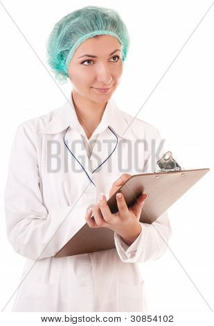 Smiling nurse with medical report