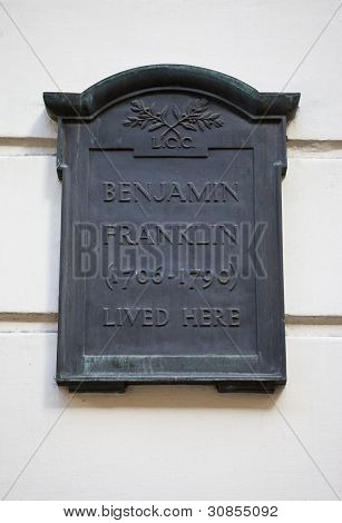 Plaque On Benjamin Franklin House In London