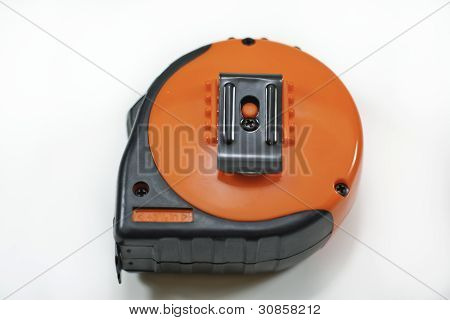 Orange Tape Measure On White Background
