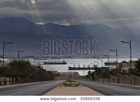 Local street running (Morning view on) to the gulf of Aqaba