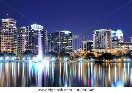 Orlando, Florida Skyline at Eola Lake.