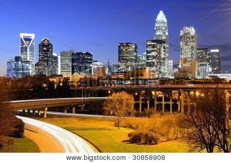 skyline of Uptown, the Financial District of Charlotte, North Carolina.