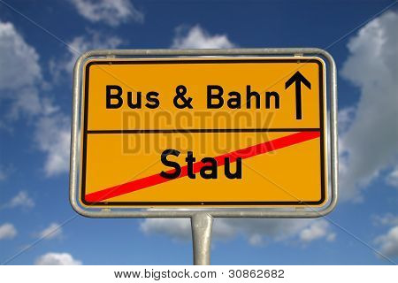German Road Sign Traffic Jam And Public Transport