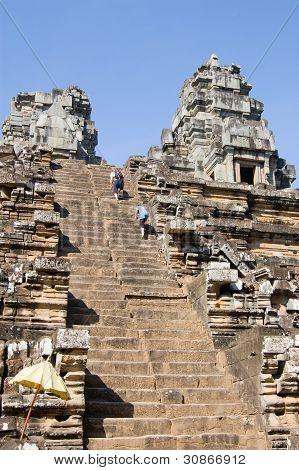 Climbing Ta Keo Temple, Cambodia