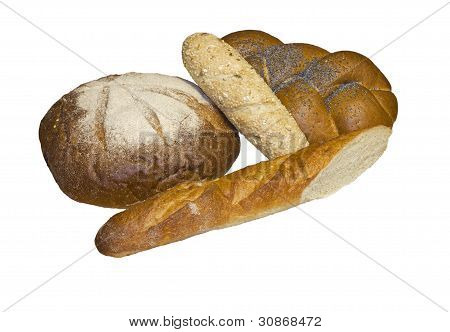 Black Round Bread, Rich Wattled Roll  And Two Baguettes.