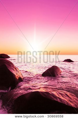 Evening Landscape Pink Sunset