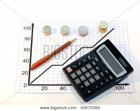 Calculator handle and coins