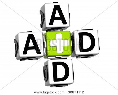 3D First Aid Crossword Block Button Text