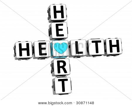 3D Health Heart Crossword Block Button Text