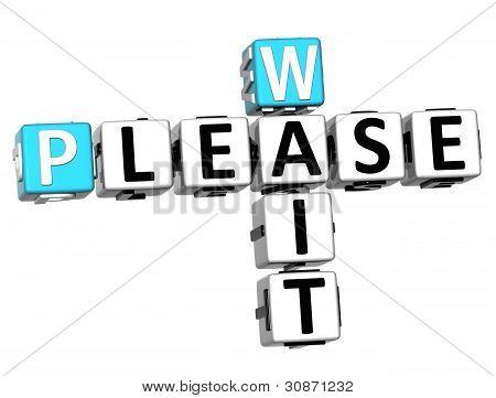 3D Please Wait Crossword Text