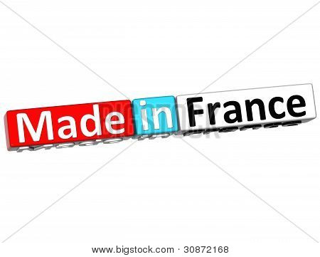 3D Made In France Over White Background