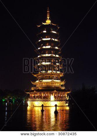 Pagoda On Lake At Night